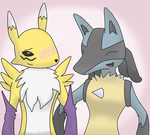 lucario and renamon :D by k-the-dragonknight