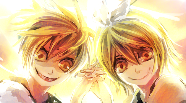 Creepy Len and Rin by Shumijin