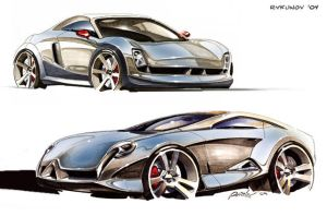 Concept car sketch 7 by Rykunov