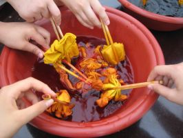 All of our handkerchiefs in a big dye bucket by pallaza