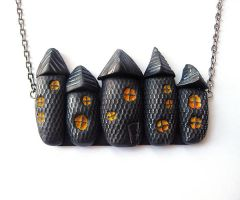 Spooky Houses Halloween Necklace by SMAfactory
