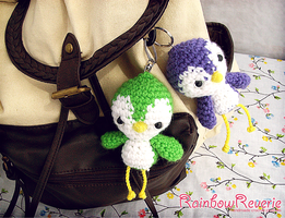 Cute Baby Bird Amigurumi Crochet Keychain Charms by RainbowReverie