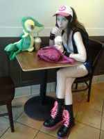 Trainer White and Snivy enjoy a caramel frap by Lokibelle