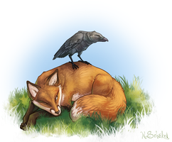 Fox and Raven by GaiasAngel