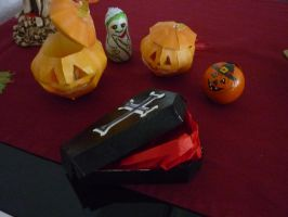 Halloween pumpkins and coffin decoration by Francoise-Evelyne