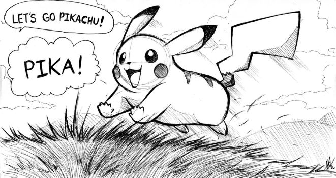Inktober 2016 Day 1: Let's Go Pikachu by Smudgeandfrank