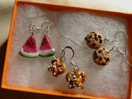 Tiny Food Earrings by nemuineko85