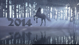 2014 Horse 3d snow forest by armas777