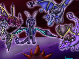 The purple dragons of the past by Lydiadragon