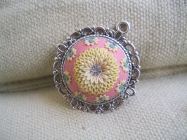Pendant - gently yellow flower by LenaHandmadeJewelry
