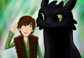 Hiccup and Toothless by applejaxshii
