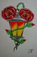 Lantern and roses by BeyondEdge
