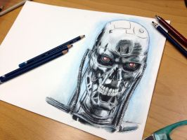 T-800 Pencil Drawing by AtomiccircuS