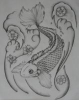 Black and White Koi Tattoo by BullettKat17