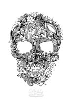 Floral Skull by dushky