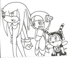 Knuckles, Charmy, Cosmo by cmara