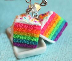 Rainbow Cake Earrings by Cutetreatsbyjany