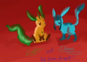 Leafeon and Glaceon by Nixhil