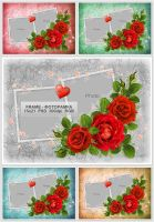 Red Roses Frame PSD by artphotosart