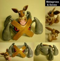 Commission: Metagross+Eevee by Foureyedalien