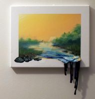 Acrylic mixed media painting titled-Sundown River by 2Graphically