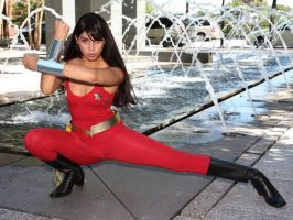 Donna Troy by fountains by CynaMarie