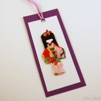 Sold - Bookmark Little Japanese doll -Washi-purple by SuniMam
