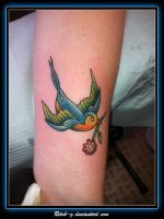Traditional Bird With Flower by ritch-g