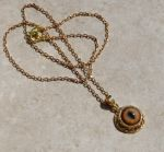Dainty Gold Bobcat Eye Necklace by kittykat01