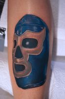 Blue Demon Luchador Mask Tattoo by graynd
