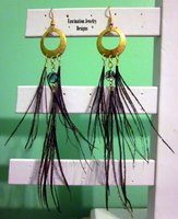 Peacock Duster Hoops by BloodRed-Orchid