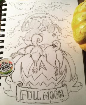 3 Full Moons:  Inktober Sketch by MissInfected