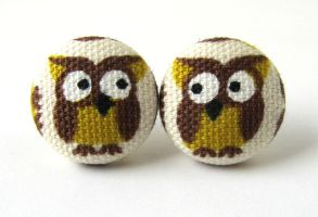 Owl button earrings studs white yellow brown bird by KooKooCraft