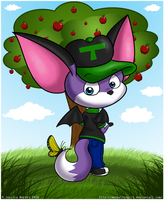 Chibi Tilki and Butterfly by MeckelFoxStudio