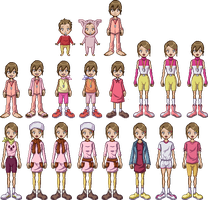 Hikari Yagami all outfits in Pixel by Deco-kun