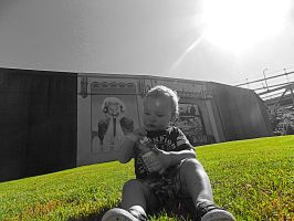 My son in front of the flood wall by maggot19882007