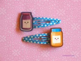 Kawaii Peanut Butter and Jelly Hair Clips by kimchikawaii