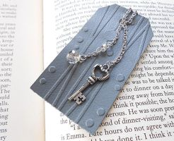 Whimsical Silver Grey Leather Bookmark by random-wish