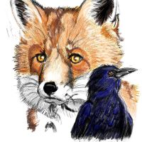 Fox and crow by FrozenTempest