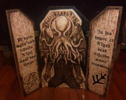 Throne of Cthulhu wood-burned triptych by runehammer9