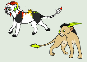 Two Lion Adopts :D by werewolfluva