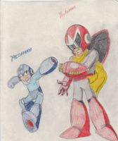 megaman and protoman by kaptain-crumpit