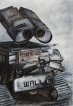 WALL-E Charcoal and Acrylic by nouvellecreation