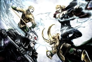 Thor and Loki VS Aquaman and Ocean Master by naratani
