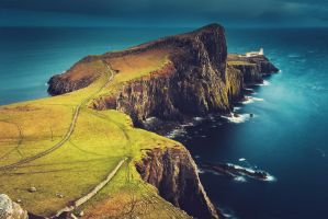 Lighthouse on the cliffs by Dapicture