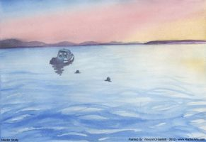 Watercolor Master Study Oceanscape by RaptorArts