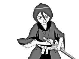 black and white rukia by psdt
