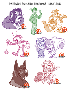 Patreon Reward Sketches - May 2017 by AdriOfTheDead