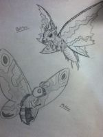 Mothra and Battra by DarkHeart777