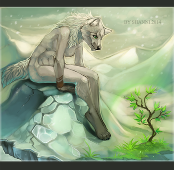 Snow wolf by madShanni